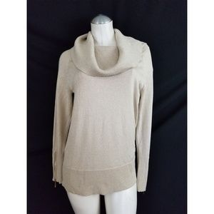 Carmen Marc Valvo Size L Tan Gold Sparkly Sweater